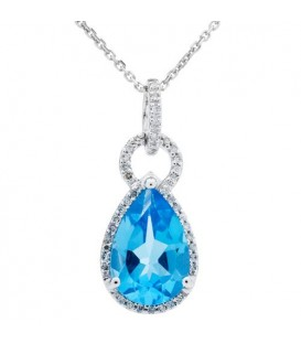 More about 3.35 Carat Blue Topaz and Diamond Pendant 14Kt White Gold