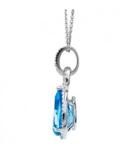 Necklaces - 3.35 Carat Blue Topaz and Diamond Pendant 14Kt White Gold