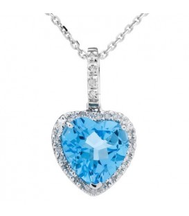 Necklaces - 2.32 Carat Blue Topaz and Diamond Pendant 14Kt White Gold