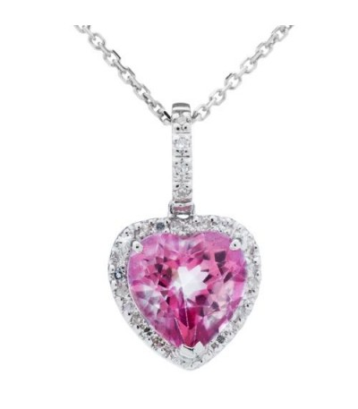 Necklaces - 2.31 Carat PinKtopaz and Diamond Pendant 14Kt White Gold