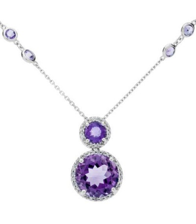 Necklaces - 5.26 Carat Amethyst and Diamond Necklace in 14Kt White Gold