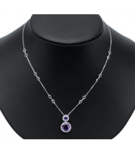 5.26 Carat Amethyst and Diamond Necklace in 14Kt White Gold