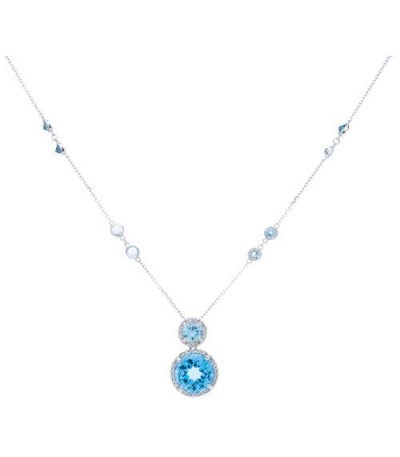 7.13 Carat Blue Topaz and Diamond Necklace in 14Kt White Gold