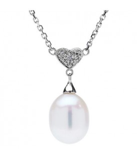Cultured Freshwater Pearl and Diamond Necklace with a 14Kt White Gold clasp