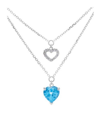 Necklaces - 1.60 Carat Blue Topaz and Diamond Necklace in 14Kt White Gold