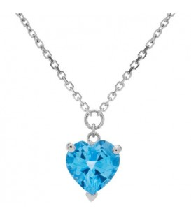 1.60 Carat Blue Topaz and Diamond Necklace in 14Kt White Gold