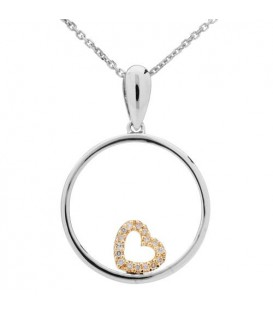 Necklaces - 0.05 Carat Round Cut Diamond Necklace 14Kt White and Ydellow Gold