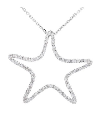Necklaces - 0.15 Carat Round Cut Diamond Necklace 14Kt White Gold