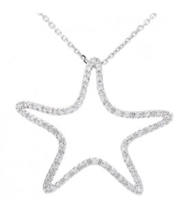 0.15 Carat Round Cut Diamond Necklace 14Kt White Gold