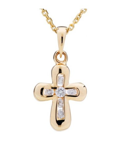 Necklaces - 0.11 Carat Round Cut Diamond Cross Necklace 14Kt Yellow Gold