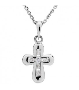 0.11 Carat Round Cut Diamond Cross Necklace 14Kt White Gold