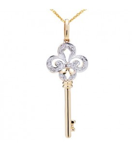Necklaces - 0.06 Carat Round Cut Diamond Fleur De Lis Necklace 14Kt Two Tone