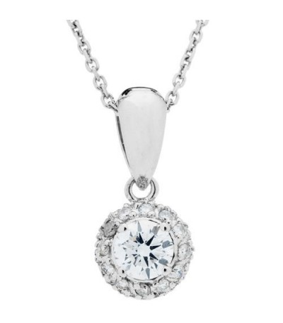 Necklaces - 0.55 Carat Diamond Pendant 18Kt White Gold