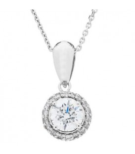Necklaces - 1.00 Carat Diamond Pendant in 18Kt White Gold
