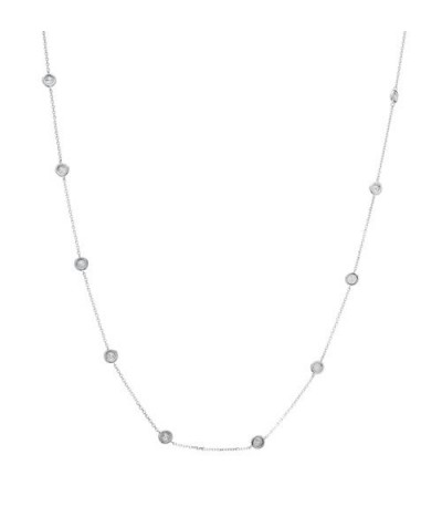 Necklaces - 0.25 Carat Diamond Necklace 18Kt White Gold