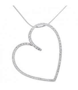 Necklaces - 0.27 Carat Diamond Heart Pendant 18Kt White Gold