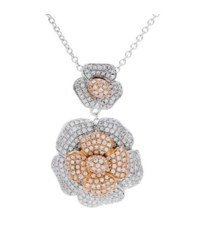 Necklaces - 1.01 Carat Diamond Flower Pendant 18Kt White Gold