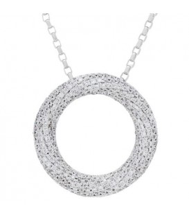 Necklaces - 0.80 Carat Diamond Pendant 18Kt White Gold