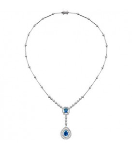 4.36 Carat Sapphire and Diamond Necklace in 18Kt White Gold
