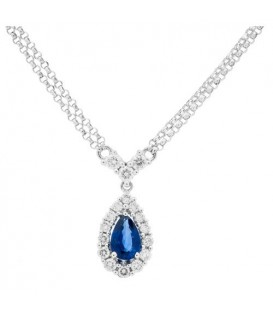 Necklaces - 0.96 Carat Sapphire and Diamond Necklace in 18Kt White Gold