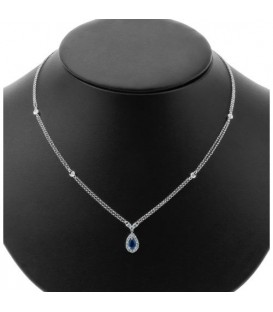 0.96 Carat Sapphire and Diamond Necklace in 18Kt White Gold