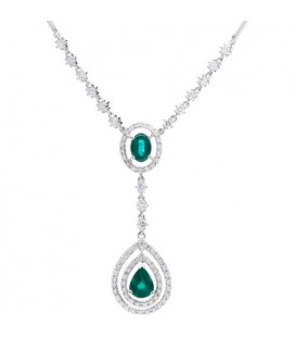 Necklaces - 4.00 Carat Emerald and Diamond Necklace featured in 18Kt White Gold