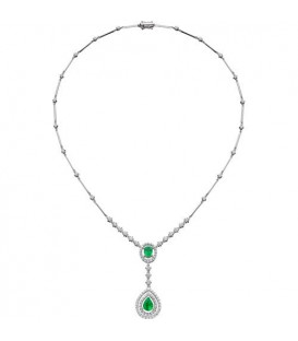 4.00 Carat Emerald and Diamond Necklace featured in 18Kt White Gold