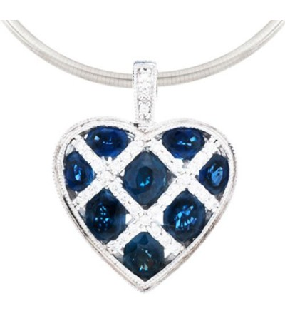 Necklaces - 3.30 Carat Sapphire and Diamond Pendant 18Kt White Gold