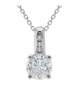 Necklaces - 0.60 Carat Diamond Quattour Necklace 18Kt White Gold