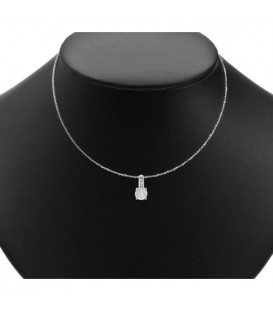0.60 Carat Diamond Invisible Set Necklace 18Kt White Gold