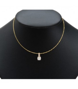 1.24 Carat Diamond Invisible Set Necklace 18Kt Yellow Gold