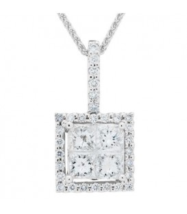 0.52 Carat Diamond Invisible Set Necklace 18Kt White Gold