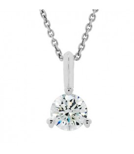 Necklaces - 1.00 Carat Diamond Solitaire Necklace 18Kt White Gold