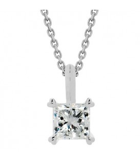 Necklaces - 0.50 Carat Princess Cut Necklace 18Kt White Gold