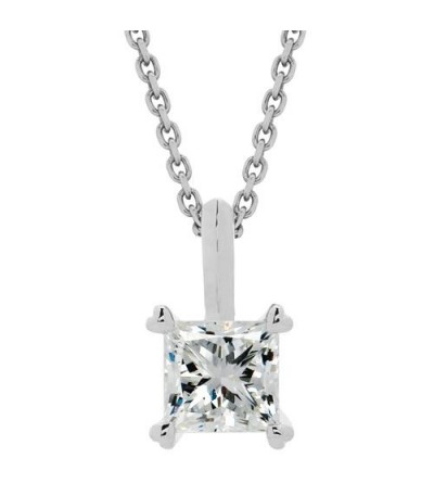 Necklaces - 0.75 Carat Princess Cut Necklace 18Kt White Gold