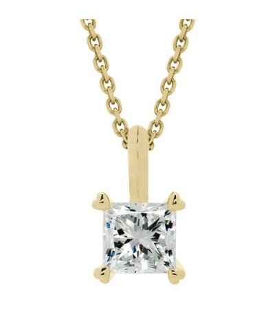 Necklaces - 1.00 Carat Princess Cut Necklace 18Kt Yellow Gold