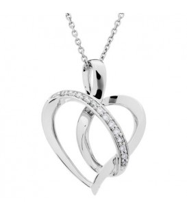 Necklaces - 0.11 Carat Diamond Heart Pendant 18Kt White Gold