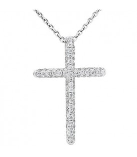Necklaces - 0.33 Carat Diamond Cross Pendant 18Kt White Gold