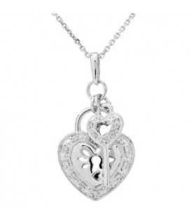 More about 0.07 Carat Diamond Heart and Key Pendant 18Kt White Gold