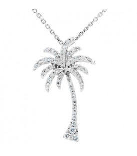 Necklaces - 0.25 Carat Diamond Palm Tree Pendant 18Kt White Gold