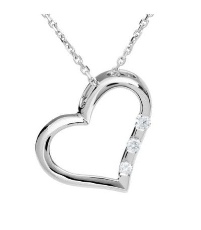 Necklaces - 0.10 Carat Diamond Open Heart Pendant 18Kt White Gold