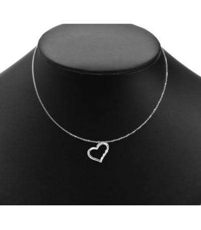 0.10 Carat Diamond Open Heart Pendant 18Kt White Gold