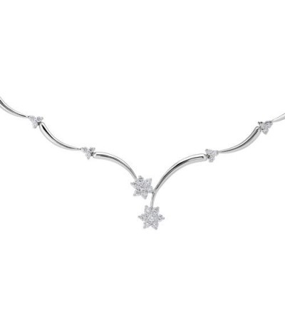 Necklaces - 1.01 Carat Classic White Gold Diamond Necklace in 18Kt White Gold