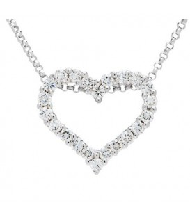 Necklaces - Diamond Heart Pendant 18Kt White Gold