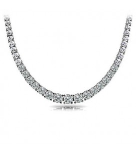 Necklaces - 7.00 Carat Diamond Necklace 18Kt White Gold