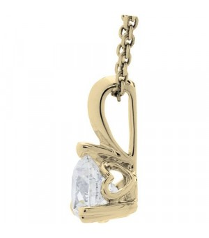 0.62 Carat Pristine Hearts Pendant 18Kt Yellow Gold