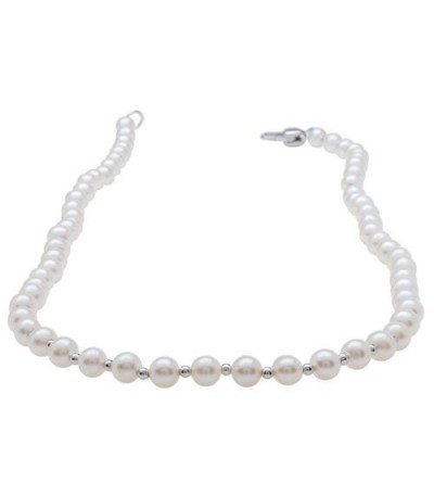 White Cultured Freshwater AA Quality Pearl Necklace with a Sterling Silver Clasp
