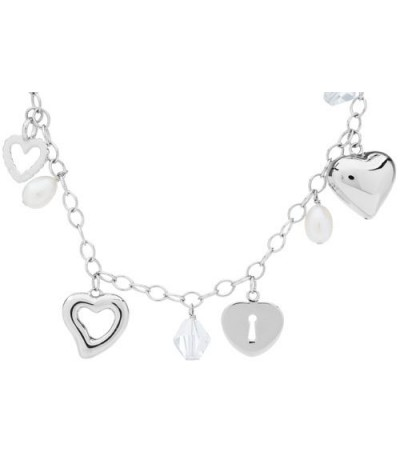 Cultured Freshwater Pear, Crystal 925 Sterling Silver Necklace