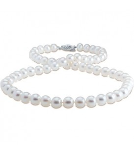 6-7mm White Cultured Freshwater Pearl Necklace with a 14Kt White Gold Clasp