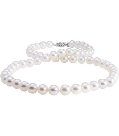 Necklaces - 7-8mm White Cultured Freshwater Pearl Necklace with a 14Kt White Gold Clasp